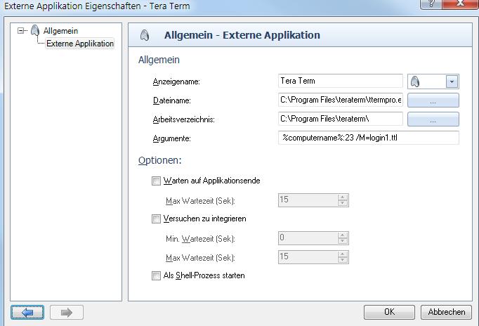 VisionApp Remote Desktop: Einbindung externer Applikationen