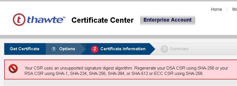 Neues Thawte Zertifikat: Fehler \