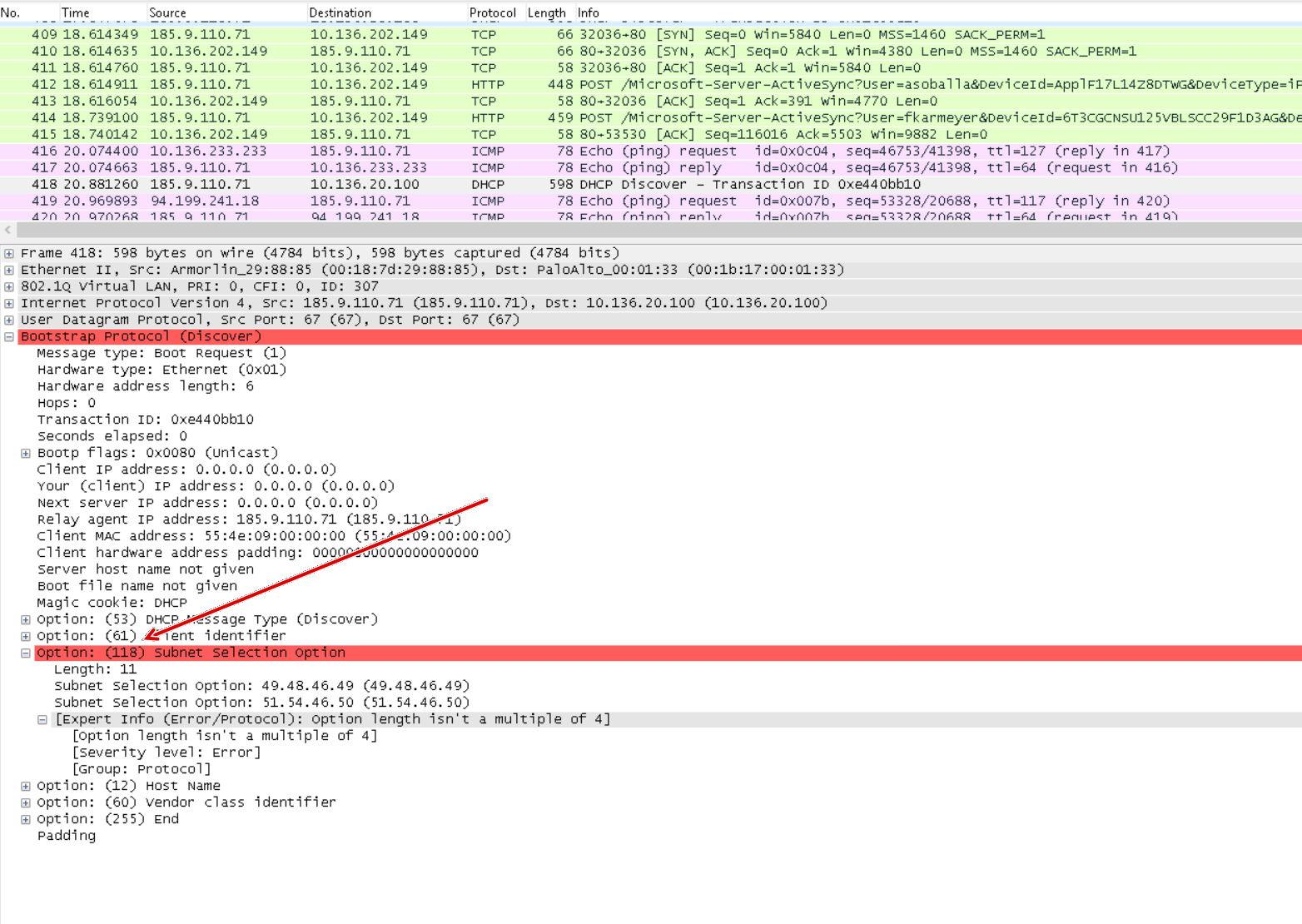 PULSE Gateway verschickt DHCP Requests für ein falsches Netz (Check